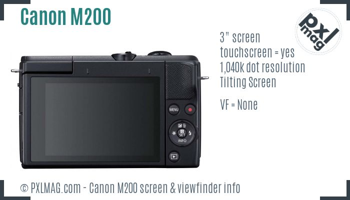 Canon EOS M200 screen and viewfinder