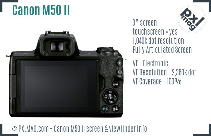Canon EOS M50 Mark II screen and viewfinder