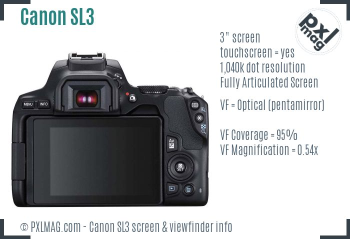 Canon EOS Rebel SL3 screen and viewfinder