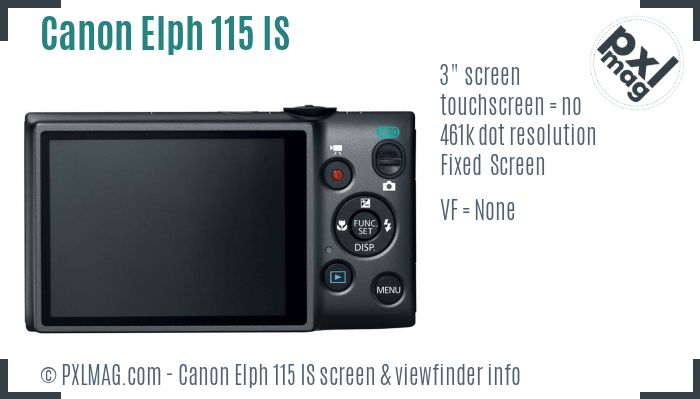 Canon Elph 115 IS screen and viewfinder