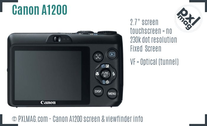Canon PowerShot A1200 screen and viewfinder