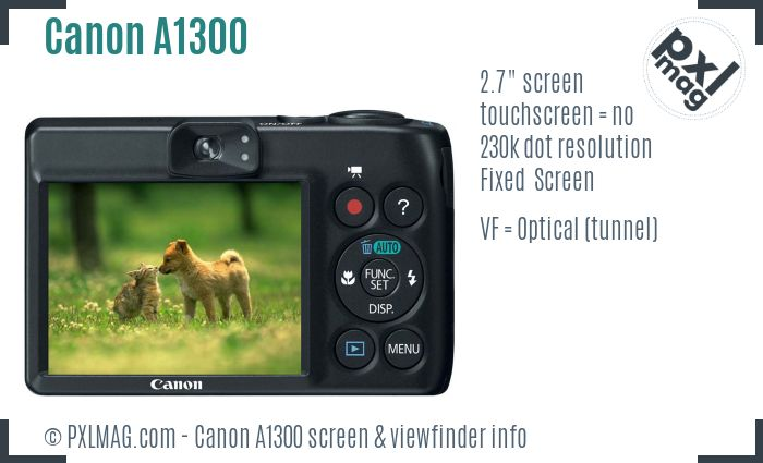 Canon PowerShot A1300 screen and viewfinder