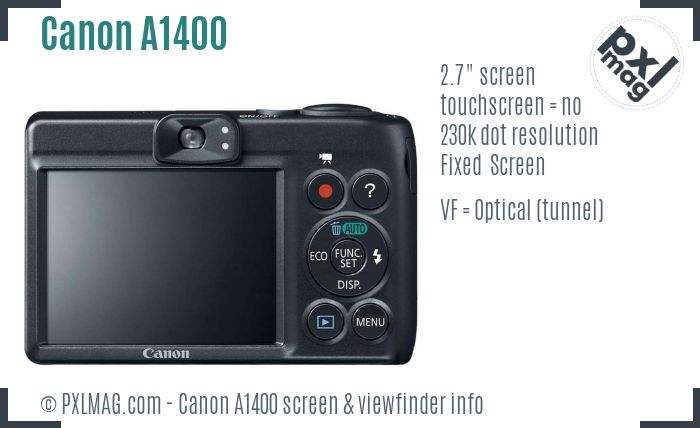 Canon PowerShot A1400 screen and viewfinder