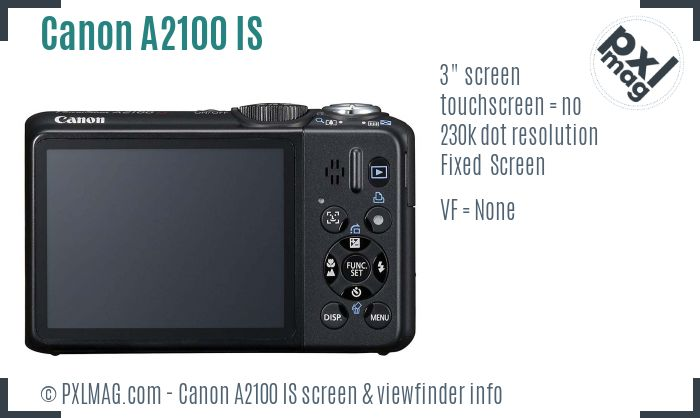 Canon PowerShot A2100 IS screen and viewfinder