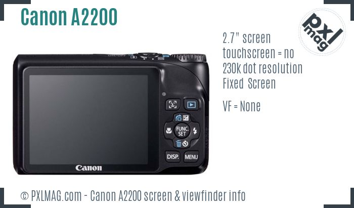 Canon PowerShot A2200 screen and viewfinder