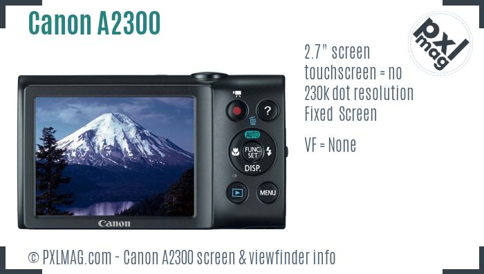 Canon PowerShot A2300 screen and viewfinder