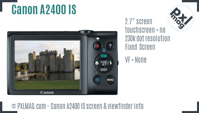Canon PowerShot A2400 IS screen and viewfinder