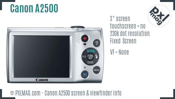 Canon PowerShot A2500 screen and viewfinder