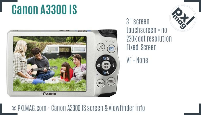 Canon PowerShot A3300 IS screen and viewfinder