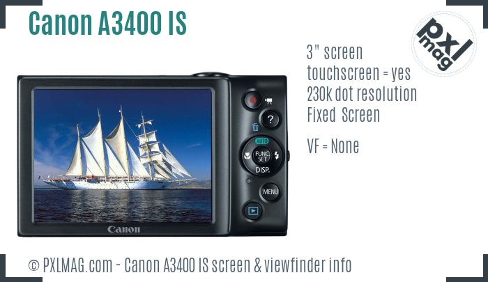 Canon PowerShot A3400 IS screen and viewfinder