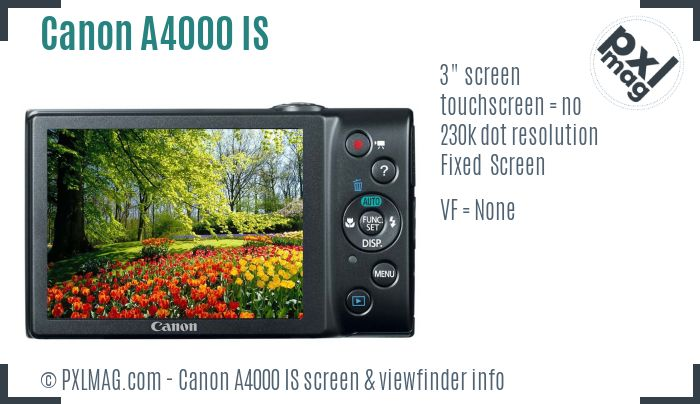 Canon PowerShot A4000 IS screen and viewfinder