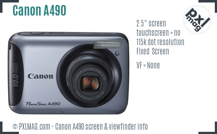 Canon PowerShot A490 screen and viewfinder