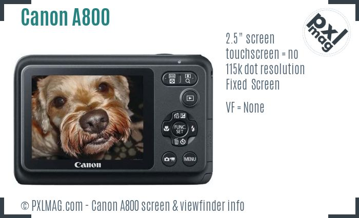 Canon PowerShot A800 screen and viewfinder