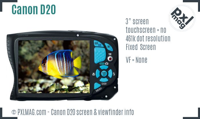 Canon PowerShot D20 screen and viewfinder