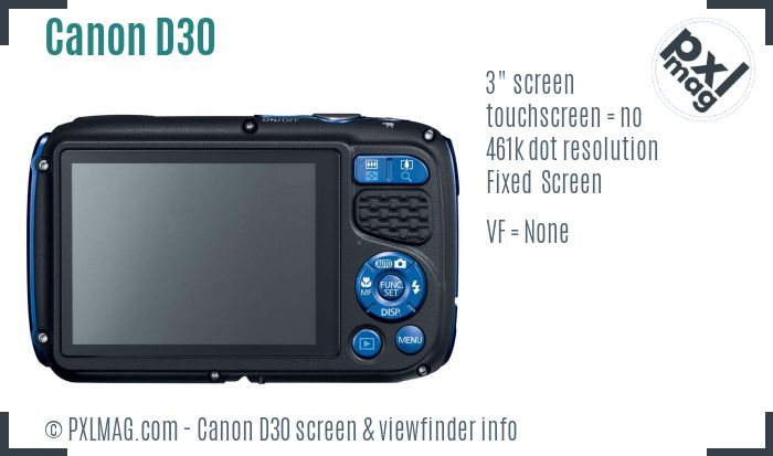 Canon PowerShot D30 screen and viewfinder