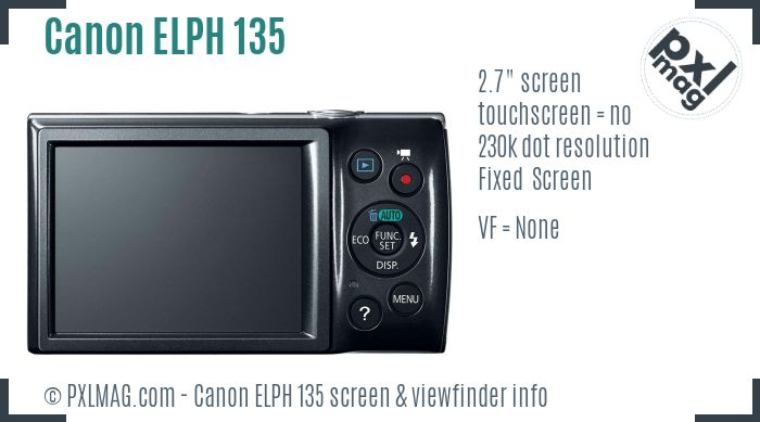 Canon PowerShot ELPH 135 screen and viewfinder