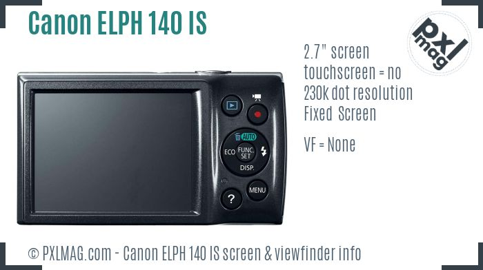 Canon PowerShot ELPH 140 IS screen and viewfinder