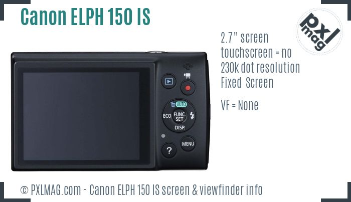 Canon PowerShot ELPH 150 IS screen and viewfinder