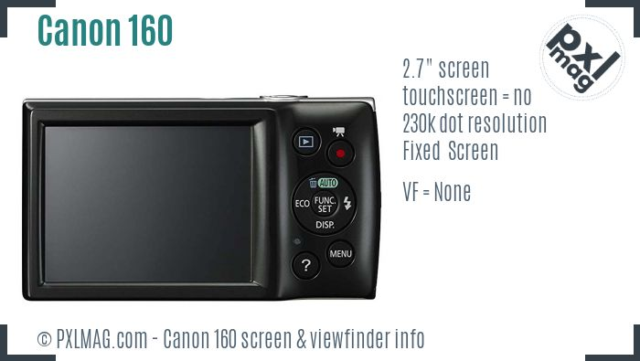 Canon PowerShot ELPH 160 screen and viewfinder
