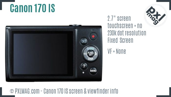 Canon PowerShot ELPH 170 IS screen and viewfinder
