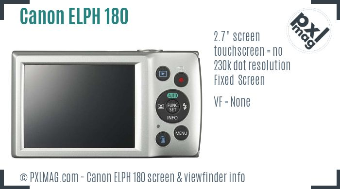 Canon PowerShot ELPH 180 screen and viewfinder