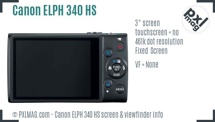 Canon PowerShot ELPH 340 HS screen and viewfinder