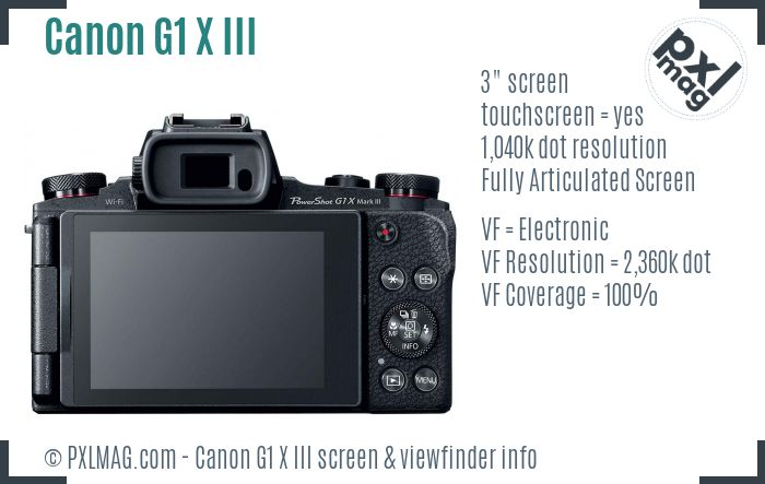 Canon PowerShot G1 X Mark III screen and viewfinder