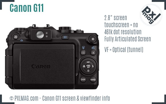Canon PowerShot G11 screen and viewfinder