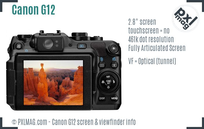 Canon PowerShot G12 screen and viewfinder