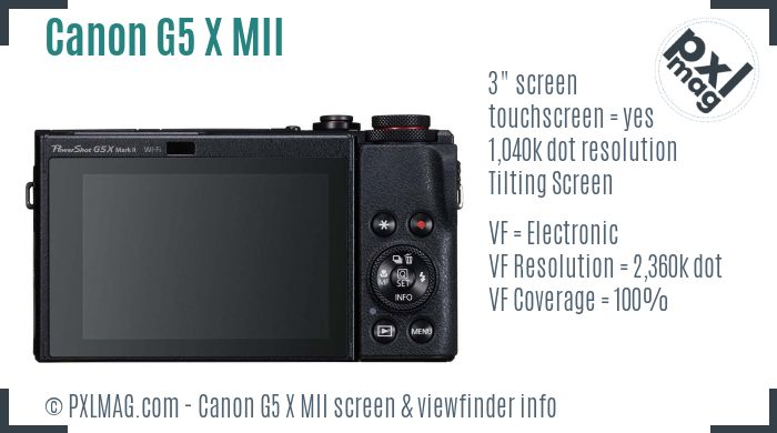Canon PowerShot G5 X Mark II screen and viewfinder