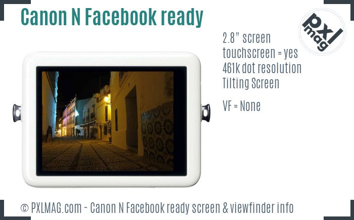 Canon PowerShot N Facebook ready screen and viewfinder