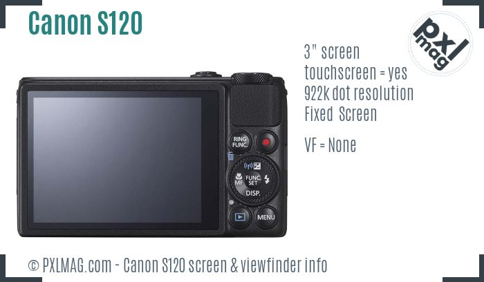 Canon PowerShot S120 screen and viewfinder