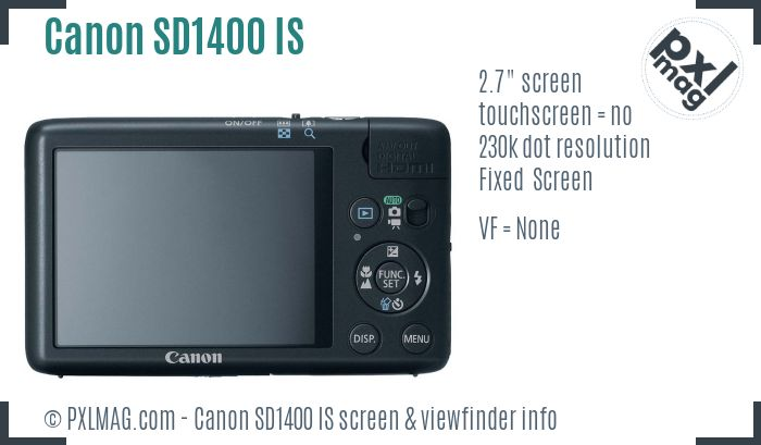 Canon PowerShot SD1400 IS screen and viewfinder