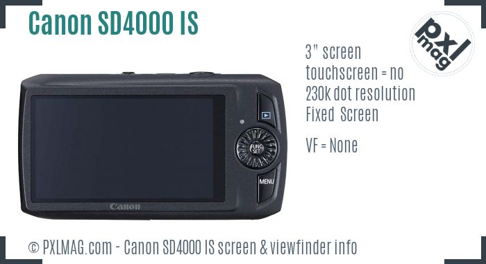 Canon PowerShot SD4000 IS screen and viewfinder