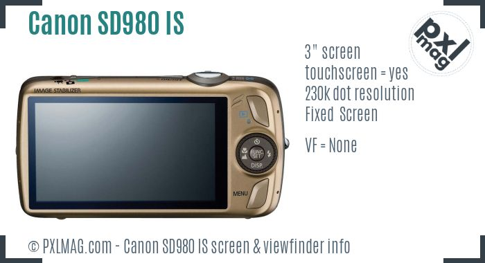 Canon PowerShot SD980 IS screen and viewfinder