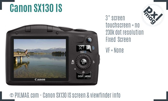 Canon PowerShot SX130 IS screen and viewfinder