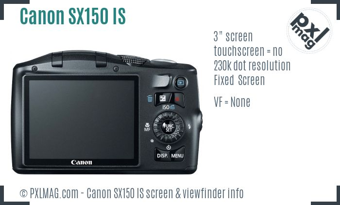 Canon PowerShot SX150 IS screen and viewfinder