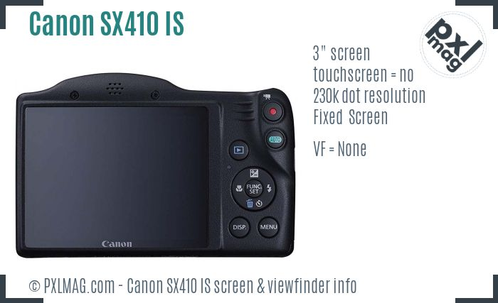 Canon PowerShot SX410 IS screen and viewfinder