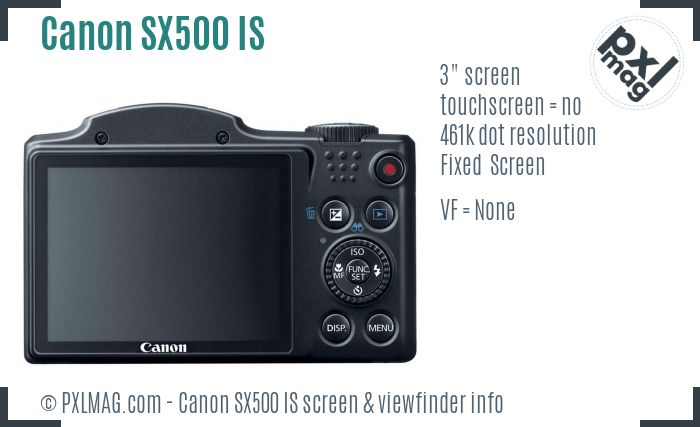 Canon PowerShot SX500 IS screen and viewfinder