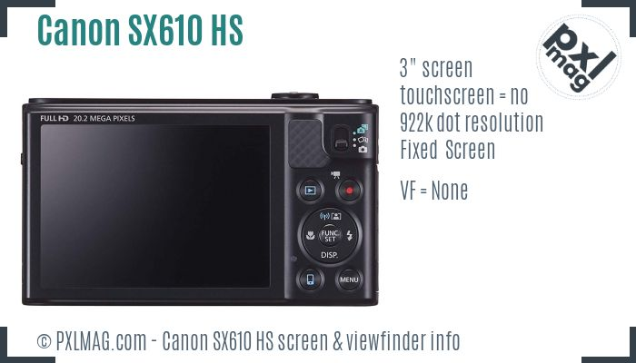 Canon PowerShot SX610 HS screen and viewfinder