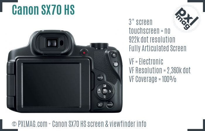 Canon PowerShot SX70 HS screen and viewfinder