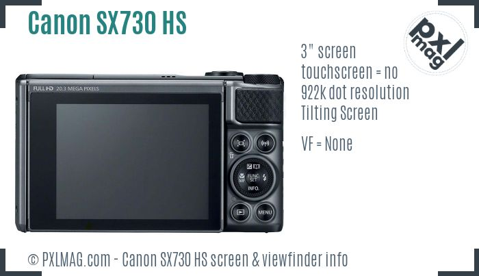Canon PowerShot SX730 HS screen and viewfinder