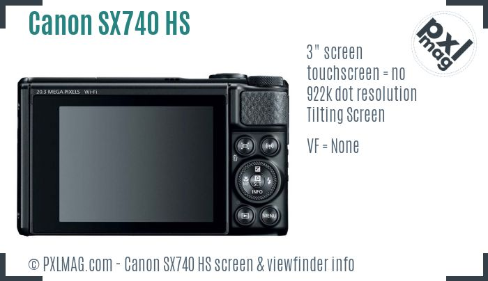 Canon PowerShot SX740 HS screen and viewfinder