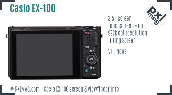 Casio Exilim EX-100 screen and viewfinder