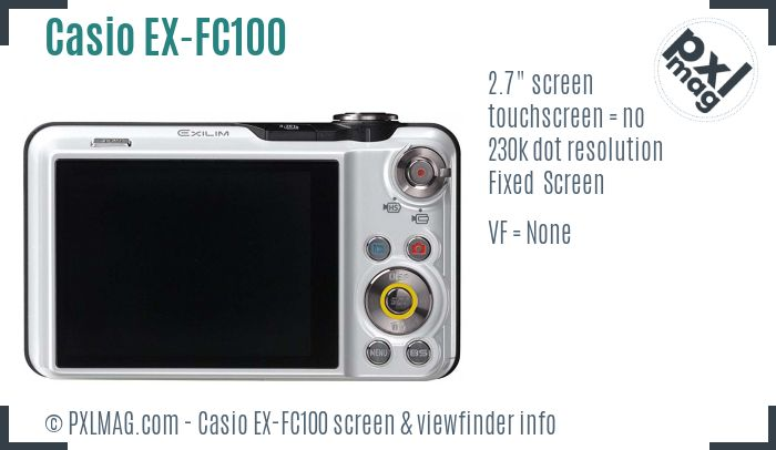 Casio Exilim EX-FC100 screen and viewfinder