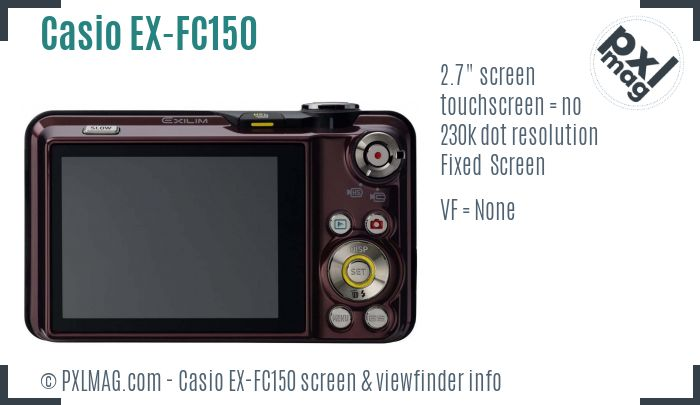 Casio Exilim EX-FC150 screen and viewfinder