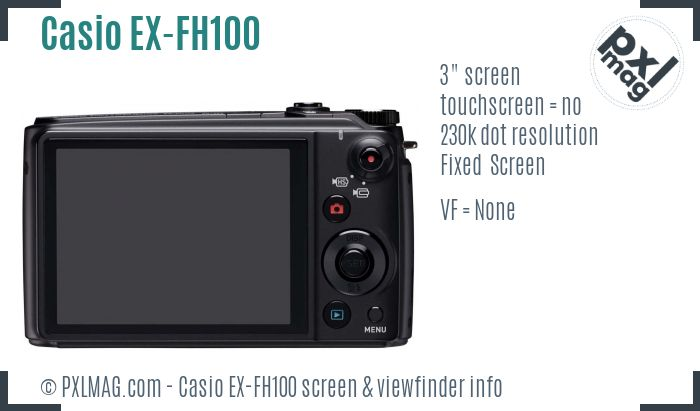 Casio Exilim EX-FH100 screen and viewfinder
