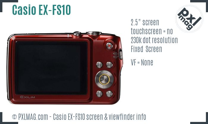 Casio Exilim EX-FS10 screen and viewfinder