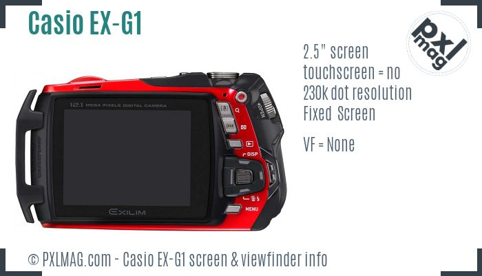 Casio Exilim EX-G1 screen and viewfinder