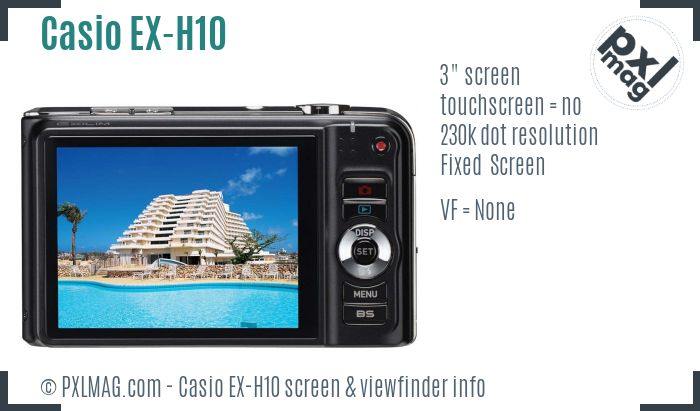 Casio Exilim EX-H10 screen and viewfinder